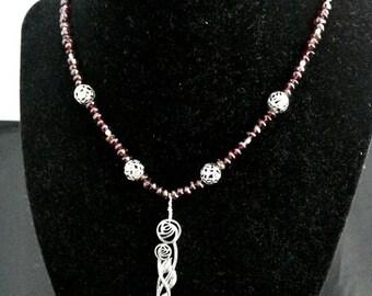Macintosh Roses Sterling Salt Spoon with Garnet Nuggets Necklace