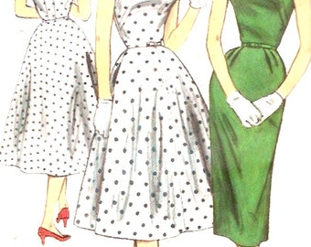 50s Rockabilly dress vintage 1950s bridesmaid frock full or slim Simplicity 1615 Sewing pattern Bust 34