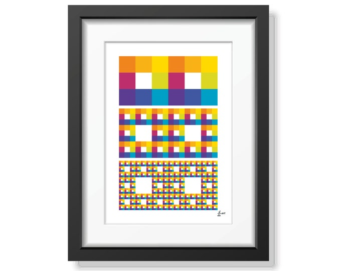 Fractal rectangles 09 [mathematical abstract art print, unframed] A4/A3 sizes