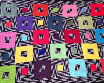 stash buster crochet afghan pattern - spunky squares crochet blanket - crochet pattern - easy crochet blanket