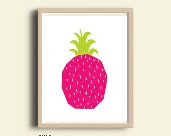 Numérique, ananas imprimable, grand ananas, téléchargement Digital art, illustration rose imprimé, tropical décor à la maison, décoration de cuisine