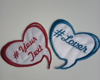Personalized Heart Patch, Custom Heart Patch, Custom Embroidered Patch, Personalized Iron on Patches, FREE SHIPPING