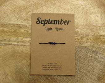September Lapis Lazuli Birthstone Wish Bracelet - Adinda Designs