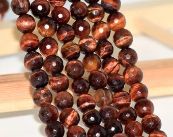 "8MM Faceted Red Tiger Eye Natural Gemstone Full Strand Round Loose Beads 15"" (100819-320)"