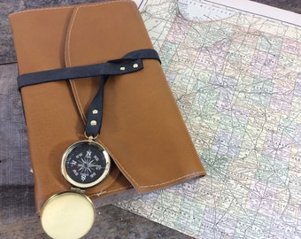 Mustard Yellow Leather Travel Journal with Map and Compass by Binding Bee