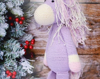 Cotton Purple Pink White Crochet knitted Unicorn Toy eco-friendly Safe developing for Newborn Baby teething toys  gift to boy girl