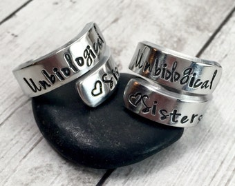 Best Friend Rings - Unbiological Sisters - Personalized Rings - Matching Rings - Greek Sister - Step Sister - Wrap Ring - Set of 2 Rings
