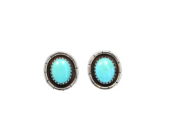 SLEEPING BEAUTY TURQUOISE Earrings Post Studs 8x10 Oval NewWorldGems