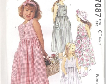 McCall's 7087 Girls Dresses Sleeveless  Size 2-3-4  Uncut New