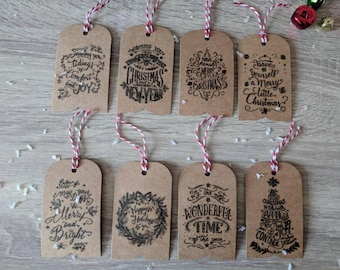 8x Handmade Christmas gift tags, various designs, Rustic Christmas tags,