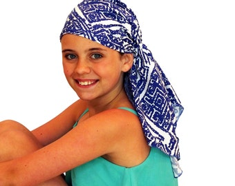 Ava Joy Children's Pre-Tied Head Scarf, Girl's Cancer Headwear, Chemo Head Cover, Alopecia Hat, Head Wrap for Hair Loss - Blue Aztec
