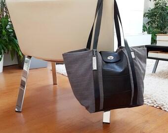 Black leather mix Tote and black fabrics