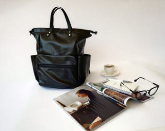 Black Diaper Bag backpack Black leather Backpack,backpacks ,Laptop bag, diaper bag, School bag, Baby Shower Gift, Gift for her, CYBER MONDAY