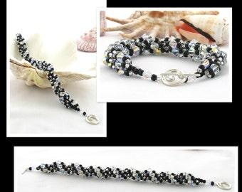 PDF Pattern - Black Swarovski Crystal Spiral Bracelet