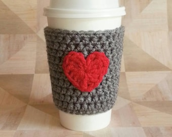 Heart Cozy - Coffee Cozy Grey with Red Heart - Cup Sleeve - Teacher Gift- Office Gift