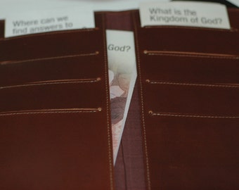 Genuine Soft Brown Leather Tract Organizer -JW Tract Holder- Water Buffalo Organizer