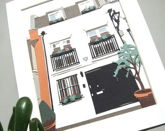 Papercut House Portrait A5 - Custom House Portrait Commission - Personalised Building Illustration - Housewarming Gifts - Moving House Gift