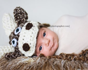 Newborn Baby Moose Hat Photography Prop | Baby Boy Baby Girl Photo Prop | Moose Themed Nursery