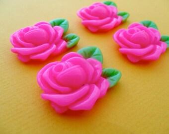 Half price sale! 4 x vintage style rose cabochon pink