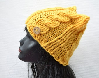 Hand Knit Chunky Cable Cat Hat  - Yellow - Winter Fashion Accessory
