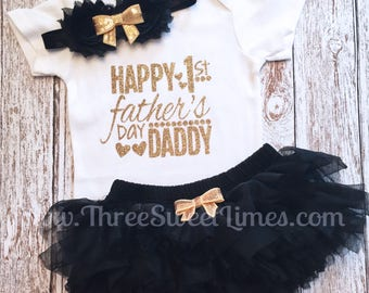 My First Father's Day Baby Girl Outfit | Daddy's Girl Clothes  Bodysuit | Black Gold Glitter |  Daddy's Princess | Leg Warmer Tutu Headband