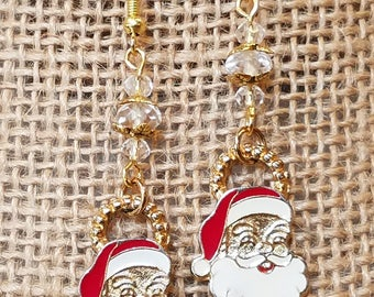 vintage Santa Claus Charm Earrings, Santa Earrings, Santa charm, Santa Claus, Earrings, Christmas Earrings