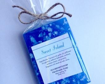 Salt  Soap, Sweet Island, Sea Salt Soap, Exfoliating Soap, Blue Soap, Fruit Scented Soap, Citrus, Pineapple, Coconut, Tropical