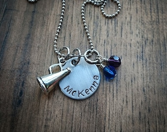 Hand Stamped Personalized Cheer Necklace - Cheerleading Necklace - Cheerleading Gifts - Cheerleader Gift