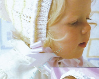 Baby Bonnets 2 styles  in DK 8 ply yarn for ages 0 - 10 Years - PDF of a Vintage Knitting pattern - N107