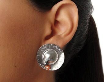 Unusual stud earrings, sterling silver round earrings, quirky earrings, silver earings