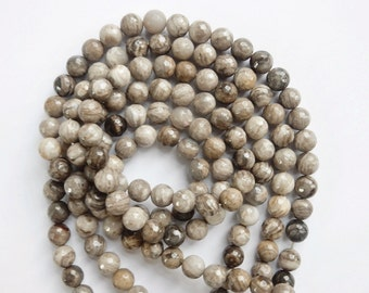 8mm Silver Leaf jasper  faceted round beads  , full strand (15.5 inches) 48 beads. gorgeous quality, Coffe, beige, gray , white