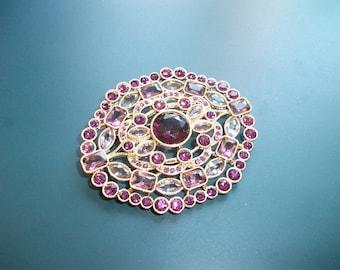Vintage Monet Lavender Lilac Purple Amethyst Glass Rhinestone Brooch Pin