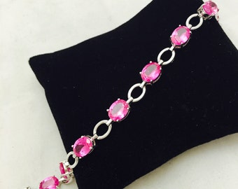 Stunning Sterling Silver and Ruby Bracelet