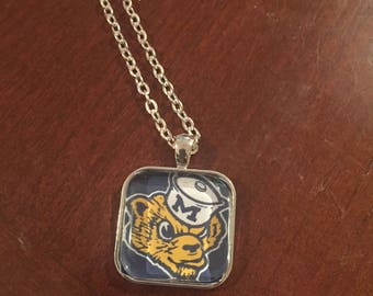 University of Michigan Wolverine Silver Pendant Necklace - Retro UofM