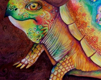 original art painting 24x20 paisley turtle framed and matted watercolor and color pencil unique one of a kind
