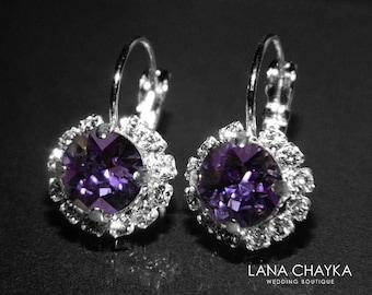 ON SALE Tanzanite Halo Crystal Earrings Swarovski Tanzanite Rhinestone Leverback Earrings Wedding Tanzanite Jewelry Birthstone December