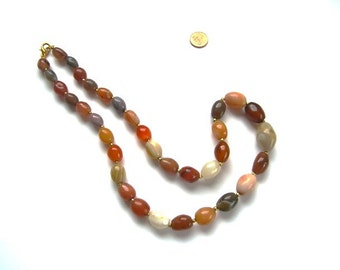 French vintage  necklace natural stones beads , Gemstone Necklace, Agate Necklace, Amber Necklace, Fall Colours, Earthtones Jewelry