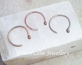 Solid 14k Gold Nose Ring. Rose Gold Nose hoop. Partial nose ring. 14k Yellow gold. Solid gold piercing. White gold nose ring. Ball hoop