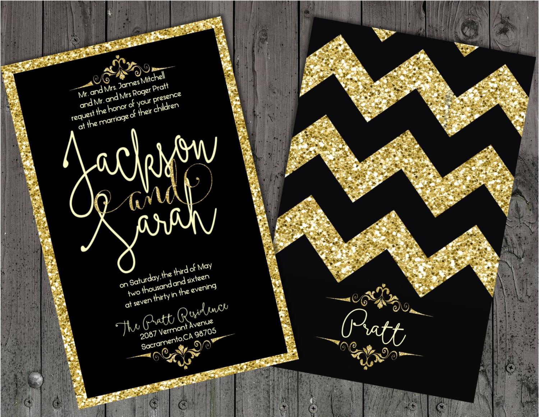 Black White And Gold Wedding Invitations: Black And Gold Wedding Invitation Gold Wedding Invitation