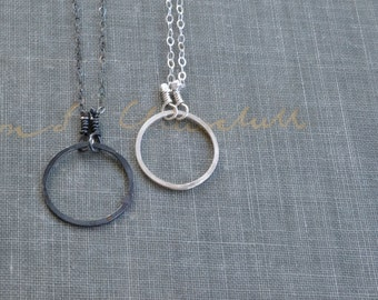 Silver Eternity Necklace- open circle necklace, karma necklace, delicate circle necklace, silver circle necklace, oxidized circle necklace