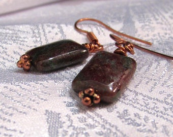 Chalcedony (green brown) Jasper Earrings