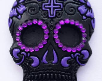 1 Sugar Skull, Day Of The Dead, Gothic Christmas tree ornament, Halloween tree decoration. black and purple. Bauble alternative.