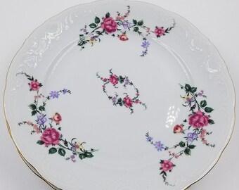 Set of 4 Royal Kent Moss Rose Dinner Plates
