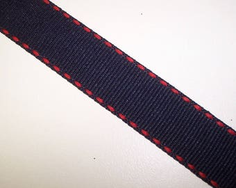 Navy Blue with Red Dashes Ribbon 3 Yards