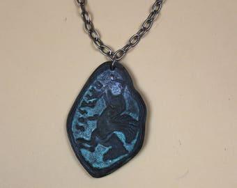 Short Chain Rare Vintage Grecian Pendant