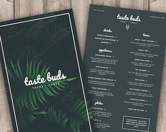 Restaurant Menu Template, Printable Menu Instant Download, Menu Design for Photoshop, Catering Menu PSD, Bar Menu, Restaurant Branding