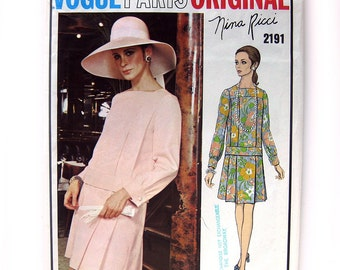 1960s Vintage Vogue Paris Original Sewing Pattern 2191 Nina Ricci MOD Dress / Uncut FF / Size 12 with Tag