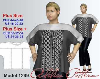 Plus size Yoke Tunic Top Sewing Pattern PDF, sizes 18-28, Plus size Tunic PDF Instant Download Sewing Pattern, Tunic Sewing Pattern