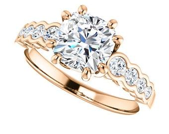 1.70ct Forever Brilliant Moissanite Engagement Ring - Cushion Cut Engagement Ring - 14k Rose Gold - Genuine Diamonds - Diamond Ring