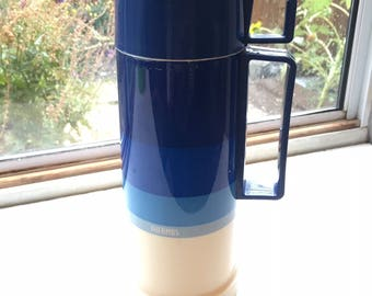 Vintage Blue and White Cup and Spout Thermos